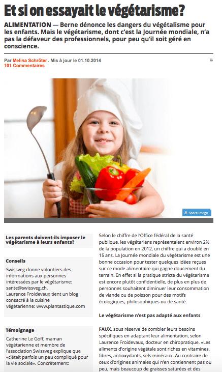Et si on essayait le végétarisme, interview du Dr Laurence Froidevaux pour LeMatin.ch
