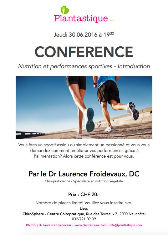 Image de la conférence nutrition et performances sportive donné par plantastique au centre chirosphere à neuchâtel