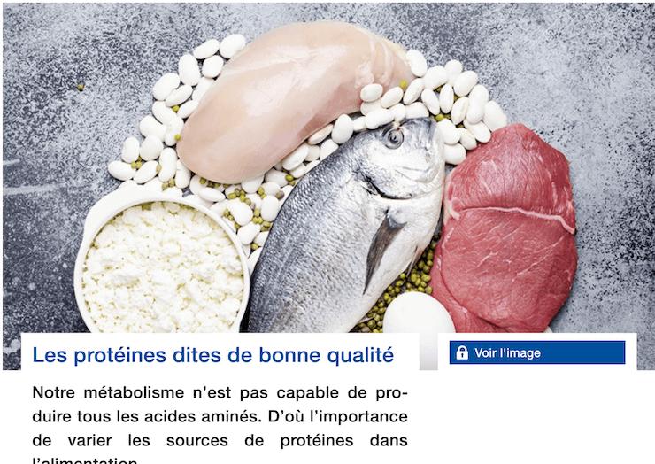 «Les protéines dites de bonne qualité» article dans Bon à Savoir